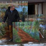 Bernard Bailly, Tentlingen, l'atelier, tableaux du Düdinger Moos, 2015
