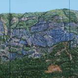 Bernard Bailly, Le Grand Salève, 2017. Peinture acrylique sur toile, 160 x 360 cm