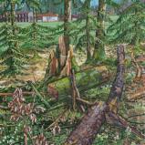 Bernard Bailly, La Ferme des Chênes, Chapelle-sur-Oron, 2017. Peinture acrylique sur toile, 160 x 120 cm