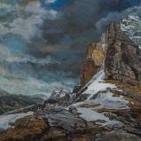 Bernard Bailly, Le Rotstock depuis Eigergletscher, avril 2011, Peinture acrylique sur toile, 114 x 146 cm