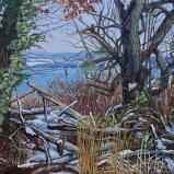 Bernard Bailly, Lac de Morat, Guévaux, midi en hiver, 2012,  Peinture acrylique sur toile, 114 x 203 cm