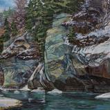 Bernard Bailly, La Molasse à Hauterive en hiver, 2019, Peinture acrylique sur toile, 114 x 146 cm.