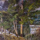 Bernard Bailly, Sapins au Gantrisch, hiver 2011, Peinture acrylique sur toile, 146 x 114 cm