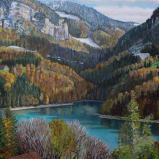 Bernard Bailly, Le lac de Montsalvens, Peinture acrylique sur toile, 114 x 146 cm
