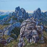 Bernard Bailly, Les Gastlosen depuis le Grat, 2017, Peinture acrylique sur toile, 100 x 100 cm.