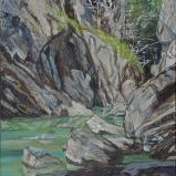 Les gorges de la Jogne, 2014, Peinture acrylique sur toile, 116 x 89 cm