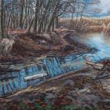 Bernard Bailly, Lac de Morat, Grengspitz, hiver, tronc de bouleau flottant, 2013, Peinture acrylique sur toile, 120 x 140 cm