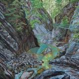 Bernard Bailly, Les gorges de la Jogne à la passerelle verte, 2014, Peinture acrylique sur toile, 89 x 116 cm
