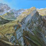 Bernard Bailly, Meglisalp en automne, Alpstein,2012, Peinture acrylique sur toile, 150 x 200 cm