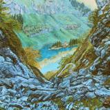 Bernard Bailly, Seealpsee, Alpstein, 2012, Peinture acrylique sur toile, 150 x 200 cm