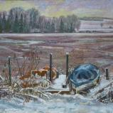 Bernard Bailly, Fribourg, Lac de Seedorf, hiver, bâteaux, 2009, Peinture acrylique sur toile, 114 x 146 cm