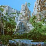 Bernard Bailly, Cassis, Calanque d'En Vau, 2013, Peinture acrylique sur toile, 105 x 203 cm