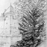 Bernard Bailly, Chillon,2010, Graphite sur papier torchon, 24 x 24 cm