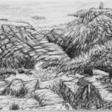 Bernard Bailly, Cancale, Pointe du Grouin, 2011, Graphite sur papier torchon, 24 x 32 cm