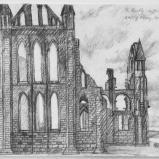 Bernard Bailly, Whitby Abbey, 2009, Graphite sur papier torchon, 24 x 32 cm