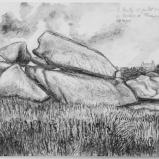 Bernard Bailly, Les Rochers de Ploumanac'h, 2011, Graphite sur papier torchon, 24 x 32 cm