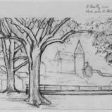 Bernard Bailly, Etude pour le Château de Gruyères, 2010, Graphite sur papier torchon, 24 x 32 cm