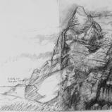 Bernard Bailly, Etude pour Eigerwand, 2011, Graphite sur papier torchon, 24 x 32 cm