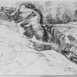 Bernard Bailly, Etude pour Eigergletscher, Graphite sur papier torchon,