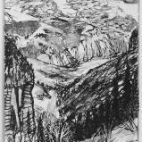 Bernard Bailly, Isenfluh, 2011, Feutre et peinture acrylique sur papier, 40 x 30 cm