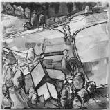 Bernard Bailly, Emmental, 2013, Feutre et peinture acrylique sur toile, 20 x 20 cm