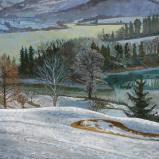 Bernard Bailly, Fribourg, Pont-La-Ville. le golf, 2009, Peinture acrylique sur toile, 114 x 145 cm