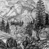 Bernard Bailly, Handeck,2011, Graphite sur papier torchon, 24 x 32 cm