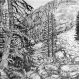 Bernard Bailly, Handeckalp, 2011, Graphite sur papier torchon, 24 x 32 cm