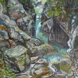 Bernard Bailly, Les gorges de la Jogne,2010. Peinture acrylique sur toile, 160 x 146 cm