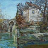 Bernard Bailly, Sainte-Apolline en hiver le matin, 2010, Peinture acrylique sur toile, 114 x 146 cm