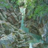 Bernard Bailly, Les Gorges de la Jogne en grand format, Peinture acrylique sur toile, 200 x 150 cm