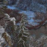 Bernard Bailly, Le Lac de Pérolle en hiver, 2010, Peinture acrylique sur toile, 115 x 200 cm