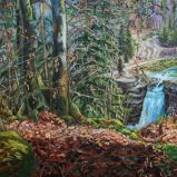 Bernard Bailly, Le Saut-du-Doubs en mars 2015, peinture acrylique sur toile 150 x 250 cm