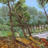 Bernard Bailly,  Provence, Les Alpilles, route départementale, 2013, Peinture acrylique sur toile, 89 x 116 cm