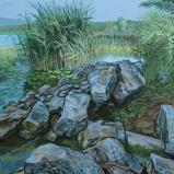 Bernard Bailly, Lac de Morat, Muntelier, empierrement et touffe de roeaux, 2012, Peinture acrylique sur toile, 89 x 116 cm