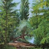 Bernard Bailly, Lac de Morat, Grengspitz, peuplier, 2012, Peinture acrylique sur toile, 116 x 89 cm