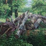 Bernard Bailly,  Lac de Morat, Grengspitz, tas de bois, 2012, Peinture acrylique sur toile, 150 x 200 cm