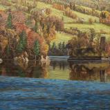 Bernard Bailly, L'Ile d'Ogoz un soir d'octobre, 2015, Peinture acrylique sur toile, 120 x 160 cm