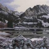 Bernard Bailly, Schwarsee le soir en hiver, 2010,  Peinture acrylique sur toile, 114 x 146 cm