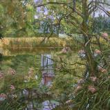 Bernard Bailly, Fribourg, Lac de Seedorf, été finissant, 2009, Peinture acrylique sur toile, 150 x 200 cm