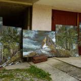 Bernard Bailly, Tentlingen, l'atelier, tableaux de montagne