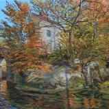 Bernard Bailly, Sainte-Apolline en automne, 2014, Peinture acrylique sur toile, 150 x 200 cm