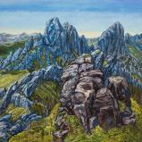 Bernard Bailly, Les Gastlosen, 2019 Peinture acrylique sur toile. 150 x 150 cm